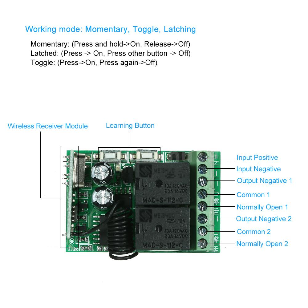 433mhz Dc12v 2ch Relay Remote Switch Receiver Module 2 Rf Rc Car Wiring Diagram Am Reciver Very Convenient To Use Simple Connection Way Support Control Up 16 Pieces It Can Connect The Electronic Lock